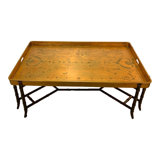 Hollywood Regency Glam Tray Top Gilded Coffee Table For Sale