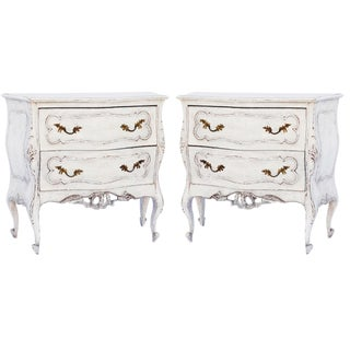 Rococo-Style Painted Nightstand Commodes - a Pair For Sale