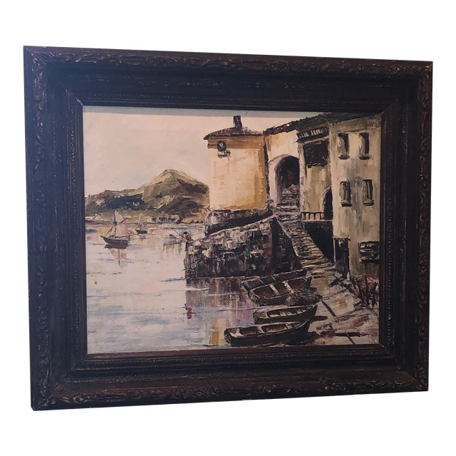 Nautical Painting of French Seaside Fishing Village For Sale