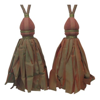 Paprika / Green Drapery Tiebacks W/ Large Tassels, Pair For Sale