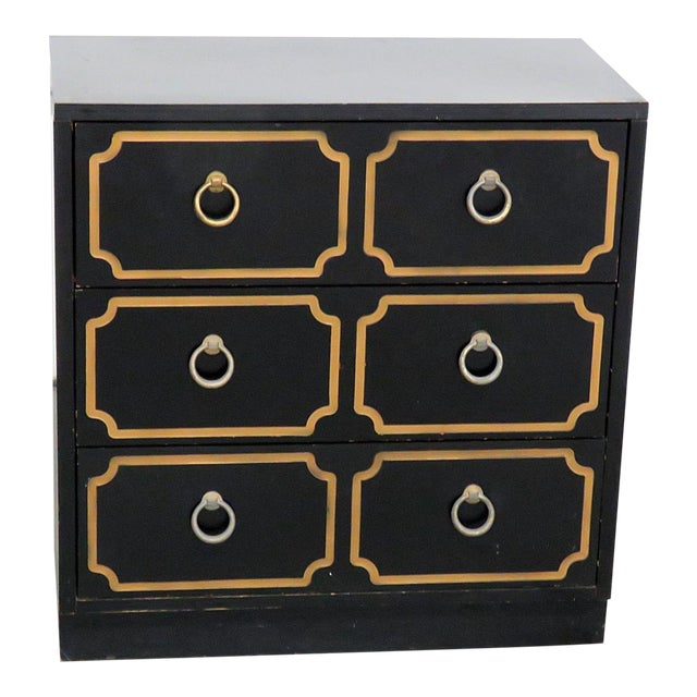 Mid-Century Modern Style Gold-Detailed Chest of Drawers For Sale