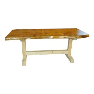 Rustic Custom Made Reclaimed Pine Farm Table For Sale