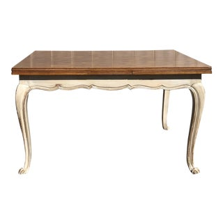French Country Louis XV Draw Leaf Dining Table - Ivory Base For Sale