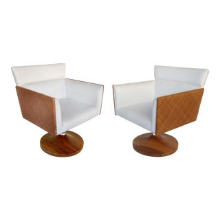 Brazilian Caned Swivel Chairs W/ Wood Bases by Saccaro-A Pair For Sale