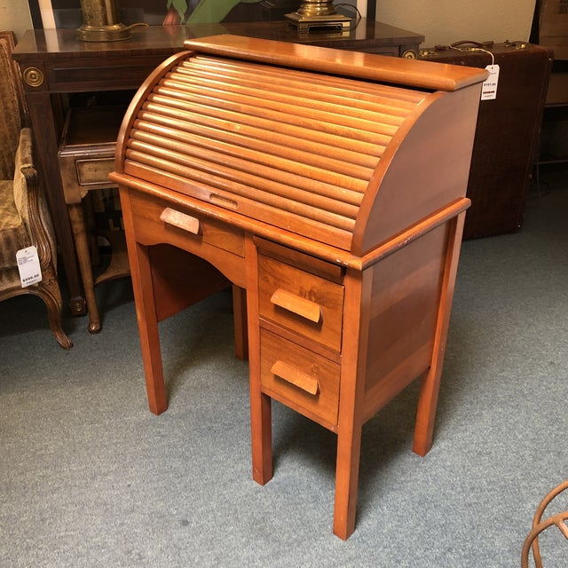 Traditional Antique Miniature Roll Top Desk For Sale - Image 3 of 11