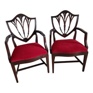 1930s Vintage Mahogany George III Shield Back Side Arm Chairs- a Pair For Sale