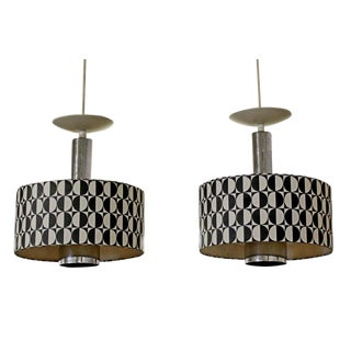 1960s Lightolier Mid-Century Modern Italian Pendant Light Fixtures - a Pair For Sale