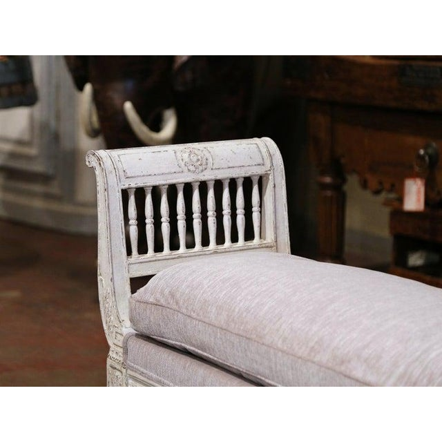 19th Century French Directoire Carved Painted Banquette With Back and Upholstery For Sale - Image 10 of 11