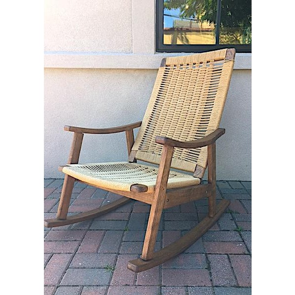 1950s Hans Wegner Style Rope Rocking Chair For Sale - Image 5 of 5