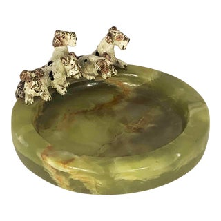 Antique Vienna Bronze 5 Fox Terrier Dogs in a Basket Onyx Dresser Tray For Sale