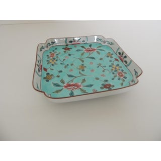 Vintage Porcelain Hand Painted Square Tray Cloisonne Floral Style Preview