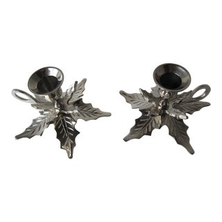 Silver Holly Candle Holders-2 Pieces For Sale