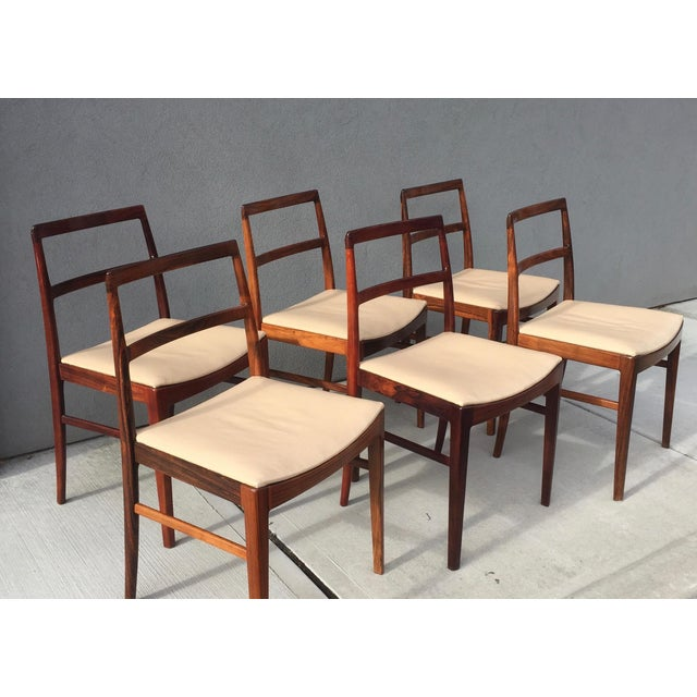 Danish Midcentury Rosewood Dining Room Chairs With Ivory Leather Seats - set of 6 For Sale - Image 11 of 11