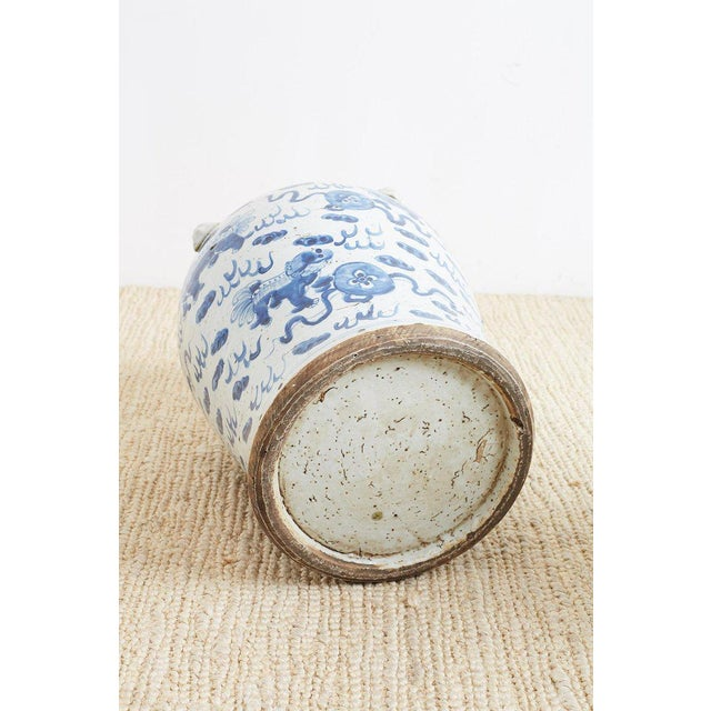Pair of Chinese Blue and White Ginger Jars and Foo Dogs For Sale - Image 12 of 13