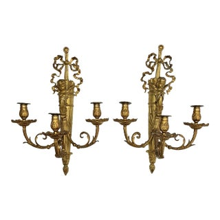 Large 19th Century French Dore Bronze Winged Putti / Cherub Torch & Quiver Sconces - a Pair For Sale
