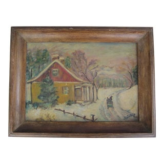 Vintage Impressionist Oil Painting of Snowy European Farmhouse For Sale
