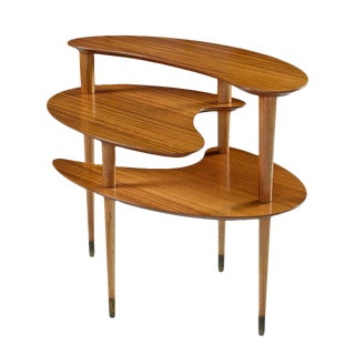 John Keal for Brown-Saltman Biomorphic Mahogany Three-Tier Server End Table For Sale