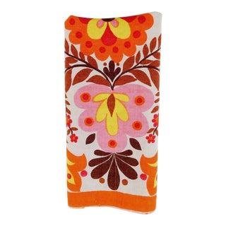 Vintage Boho Orange & Pink Linen Hand Towel
