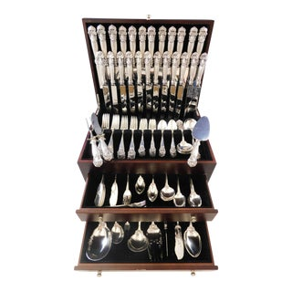 Georgian by Towle Sterling Silver Flatware Set for 12 Service 158 Pcs Dinner For Sale