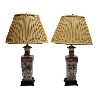 Pair Antique Samson French 19th Century Famille Rose Vases Converted to Lamps circa 1890-1910
