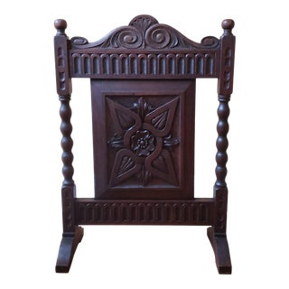 Early 20th Century Carved Oak Firescreen For Sale