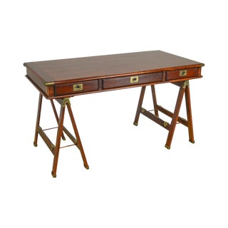 Lexington Nautical Home Cherry Campaign Style Writing Desk For Sale