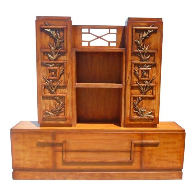 50's Hollywood Regency James Mont Coromandel Red Cabinet For Sale