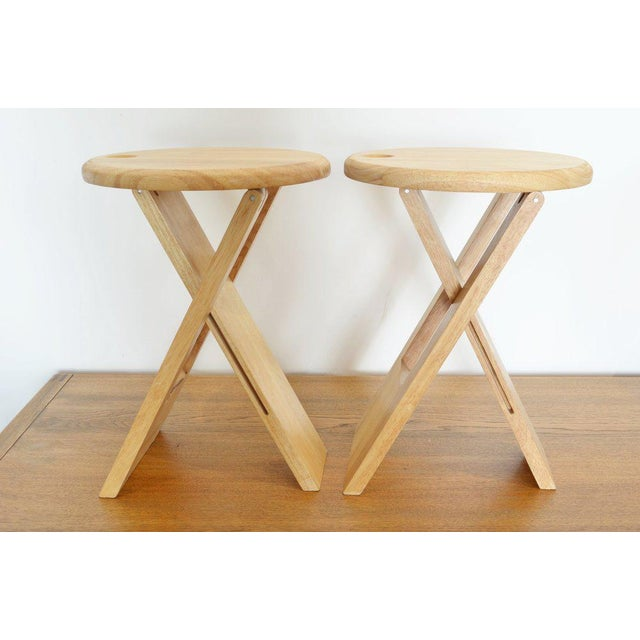 Mid-Century Modern Pair of Foldable Stools by Roger Tallon, 1970 For Sale - Image 3 of 5