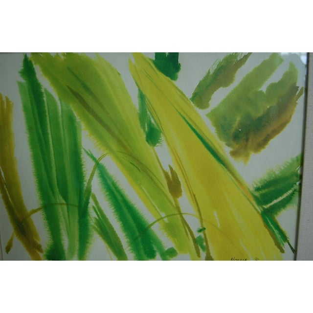 Abstract Tropical Leaves Framed Water Color by Norma Green For Sale - Image 3 of 9