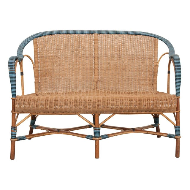 Vintage French Woven-Rattan Settee For Sale - Image 11 of 11