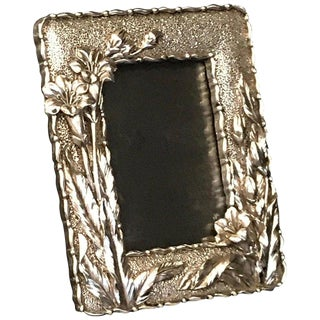 Art Nouveau Style Silver Plated Frame For Sale