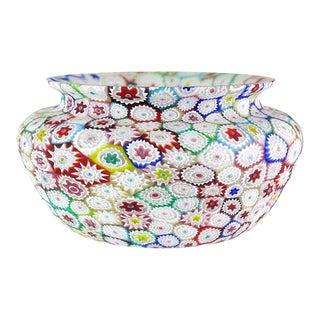 Fratelli Toso Murano Vintage Multi-Color Millefiori Flower Mosaic Italian Art Glass Bowl For Sale