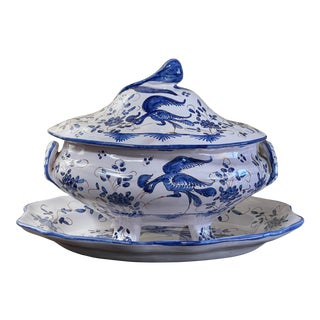 Late 19th Century French Faience Soup Tureen and Platter - 2 Pieces For Sale