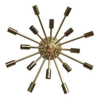 Mid Century Modern Brass Sputnik Flush Mount Light Fixture