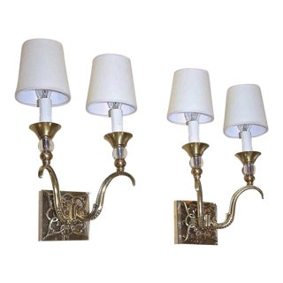 1940s French Bronze and Crystal Jules Leleu Sconces - a Pair For Sale