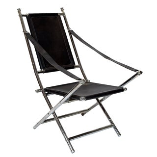 Chrome and Black Leather Folding Chair by Maison Jansen For Sale