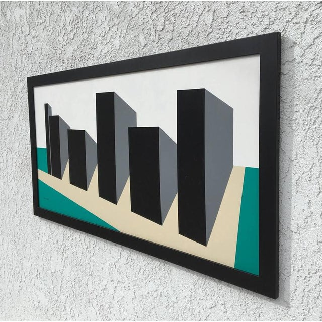 Original enamel on Masonite abstract painting by American listed artist Rick Orr.