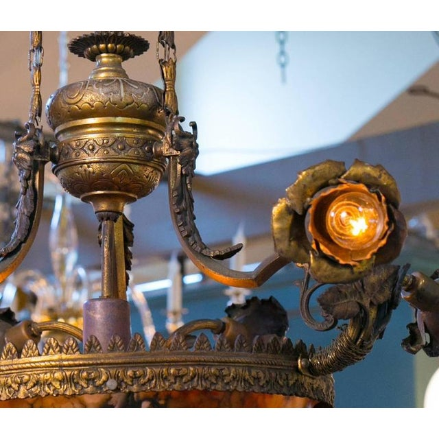 Antique Art Nouveau chandelier with alabaster bowl and bronze body. All original, from France, circa 1890. Magnificent...