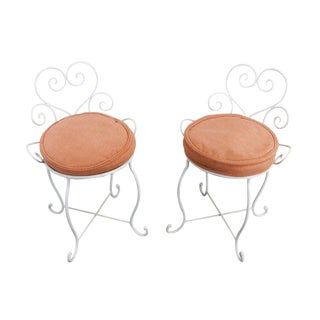 Wrought Iron Pair White Painted Small Garden Stools For Sale