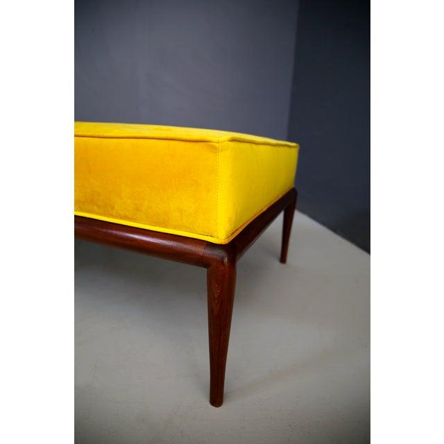 Mid-Century Modern t.h. Robsjohn-Gibbings Midcentury DayBed in Velvet and Wood, Restored, 1950s For Sale - Image 3 of 7