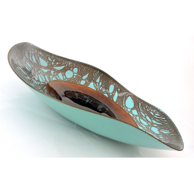 Contemporary Russian Turquoise & Bronze Enamel Plate/Bowl by H Tishler For Sale - Image 4 of 7