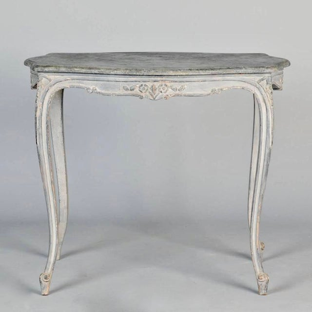Antique French Painted and Carved Blue Side Table c.1920 - Image 5 of 10