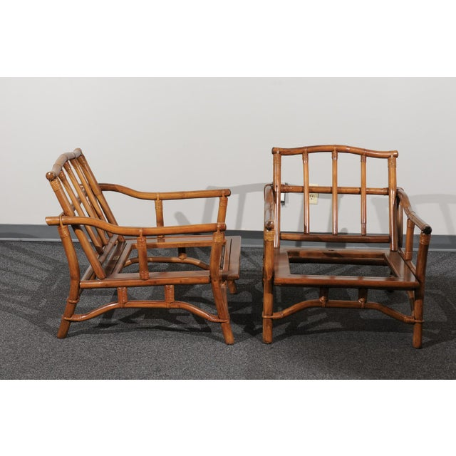 Beautiful Restored Pair of Pagoda Style Loungers by Ficks Reed, circa 1970 For Sale - Image 11 of 13