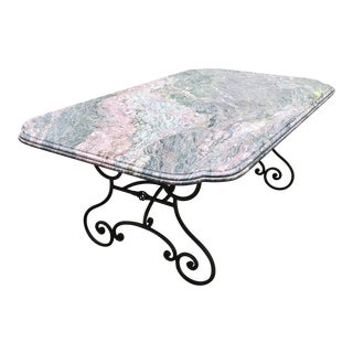 1900s Traditional Marble Topped Iron Dining Table for Indoor or Outdoor Use
