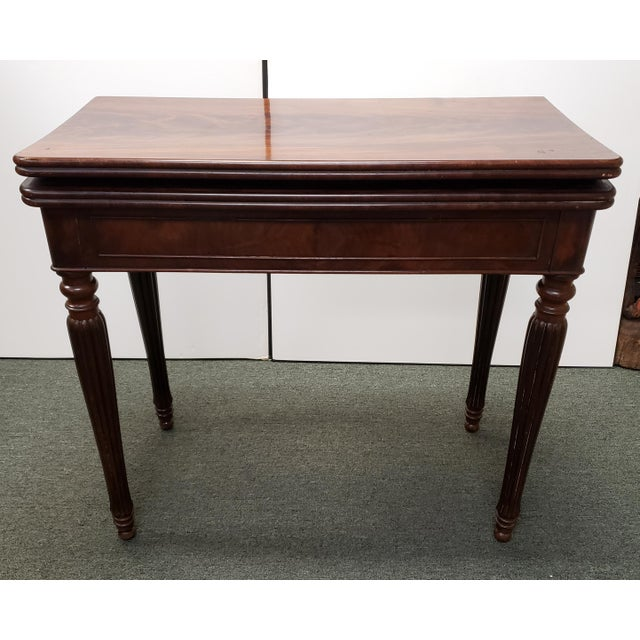 Brown Early 20th Century English Regency Style Mahogany Flip Top Games Table For Sale - Image 8 of 9