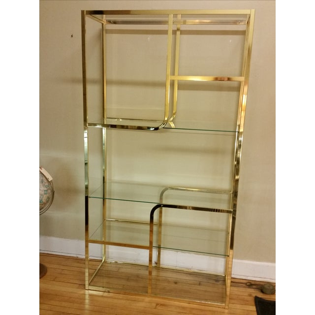 Hollywood Regency Glass & Brass Etagere - Image 3 of 7