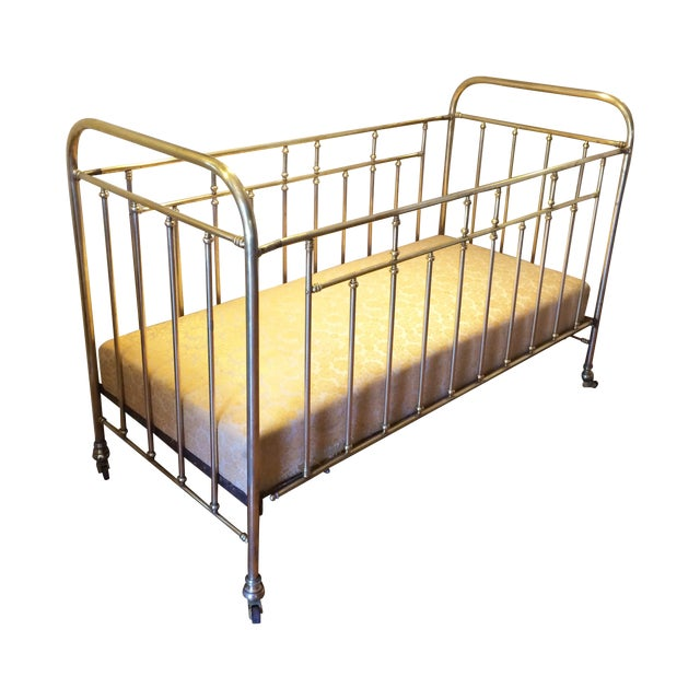 Vintage French Solid Brass Baby Crib For Sale