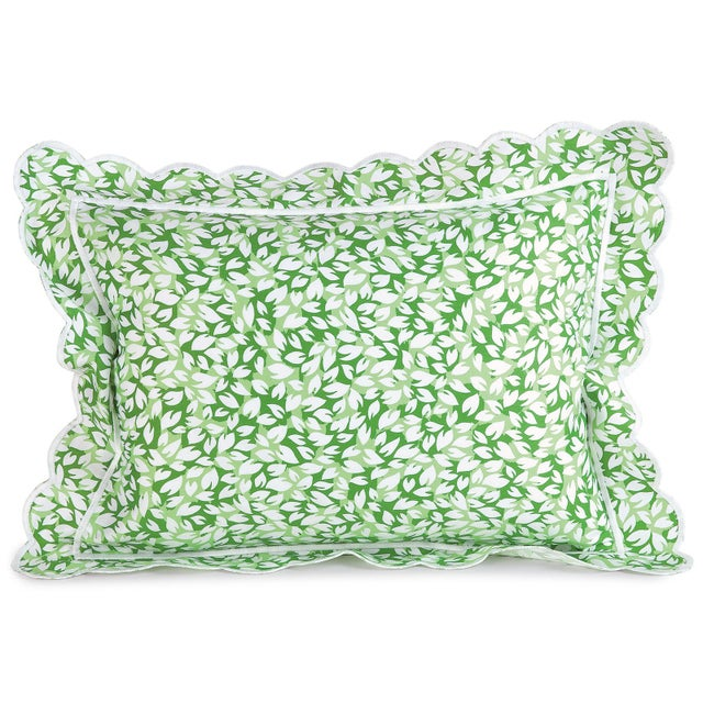Contemporary Petals Sham in Green in Standard For Sale - Image 3 of 3