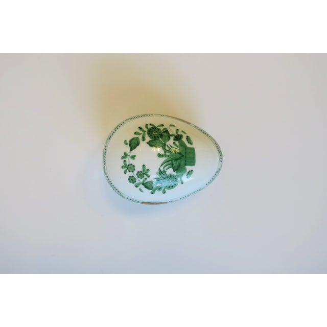 Herend Herend White Green Gold Porcelain Egg-Shaped Jewelry Box For Sale - Image 4 of 13