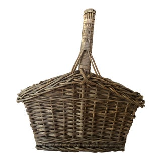 Final Markdown! Antique Wicker Basket With Handle For Sale
